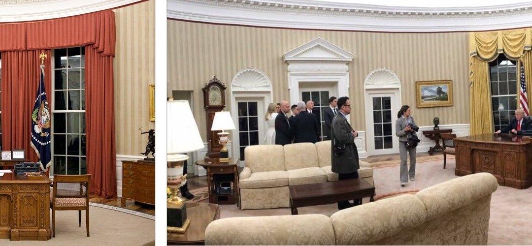 Trump met zijn GOUDEN gordijnen
